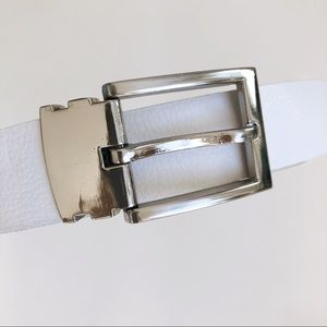 White Faux Leather Fashion Belt Silver Buckle